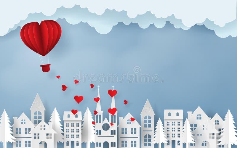 Vol rouge de ballon de coeur au ciel au cours du village, de l'amour et de la Saint-Valentin heureuse illustration stock