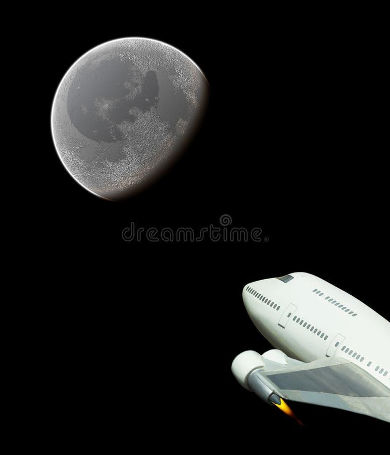 Vol spatial commercial à la lune images libres de droits