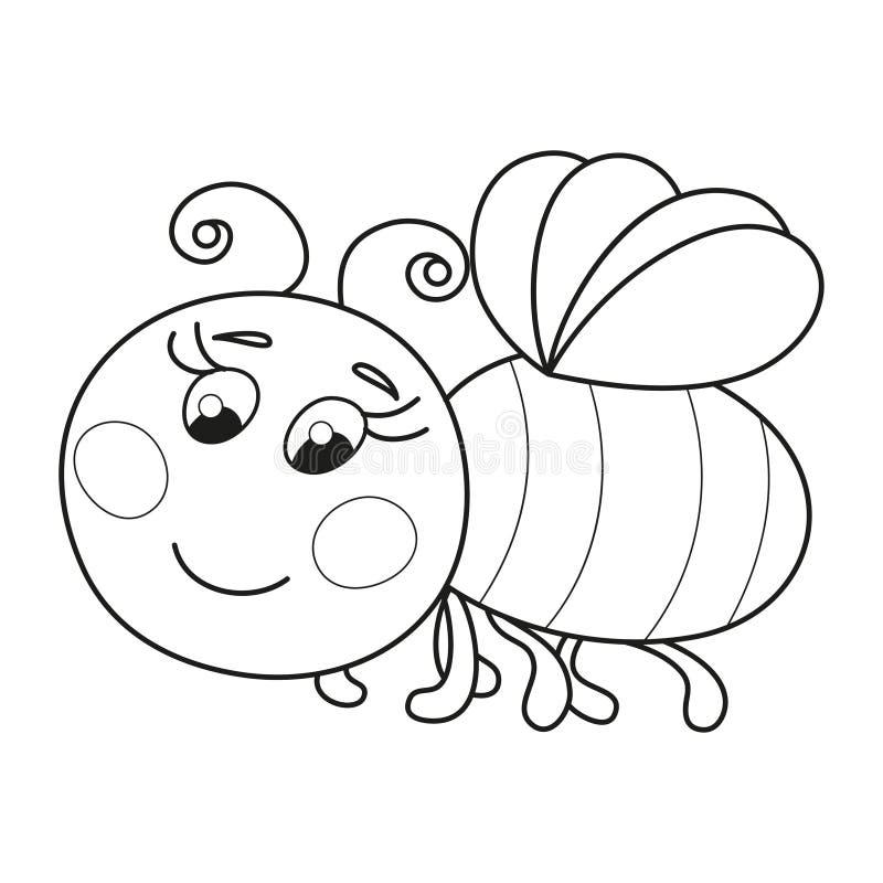 Vol vermeil drôle mignon d'abeille, page de livre de coloriage illustration libre de droits