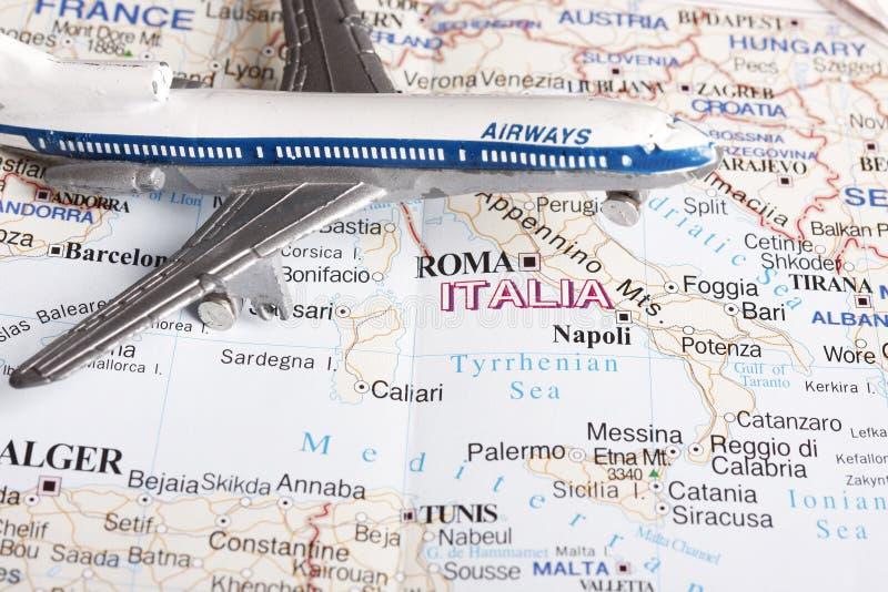 Vol vers l'Italie photo libre de droits