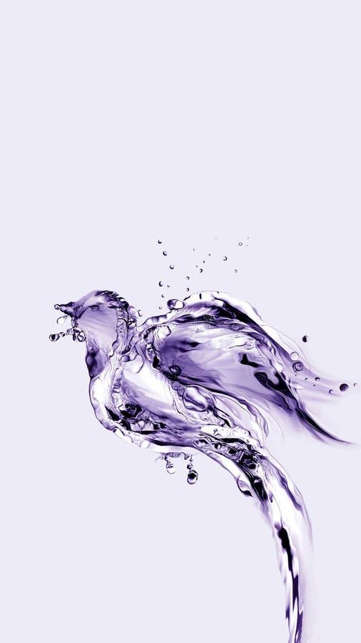 Vol violet d'oiseau d'eau vers le haut et loin