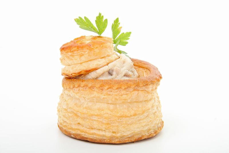 Vola u vent. Meal, vol au vent,salad and glass of wine stock photo