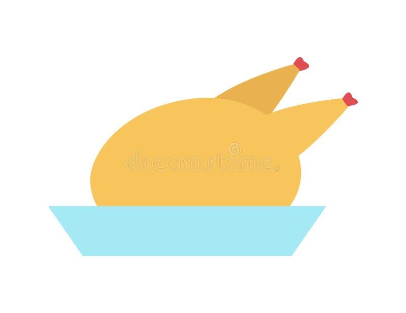 Volaille croustillante de vacances délicieuses bleues de plat de la Turquie illustration de vecteur