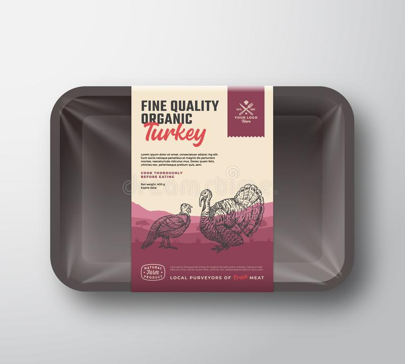 Volaille organique de qualit? fine Viande abstraite de vecteur Tray Container de plastique avec la couverture de cellophane Embal illustration stock