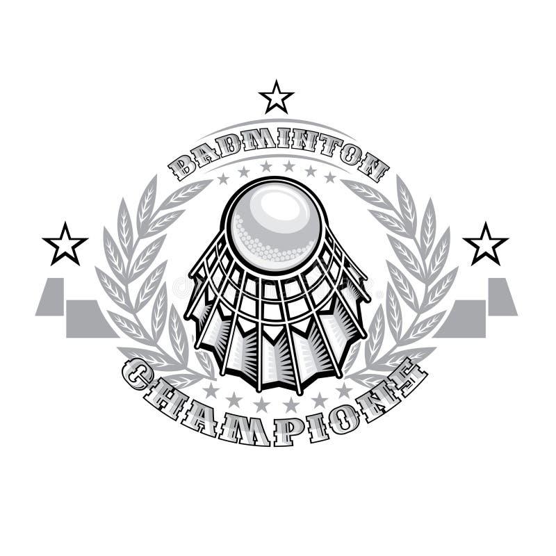 Volanchic in der Mitte des silbernen Lorbeerkranzes auf hellem Hintergrund Sportlogo für irgendein Badmintonteam stock abbildung