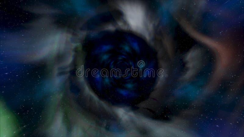 Volando al rev?s en t?nel hermoso de la galaxia con polvo del espacio, concepto del viaje del tiempo animaci?n Embudo giratorio d libre illustration