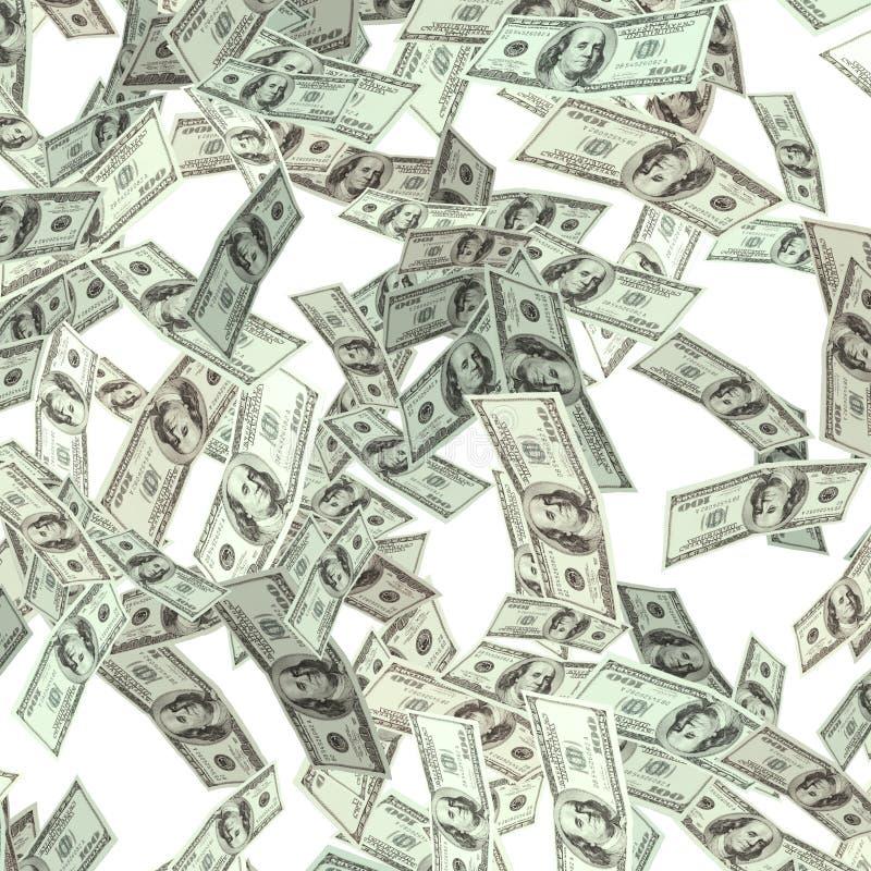 Volando cientos dólares de billetes de banco imagen de archivo