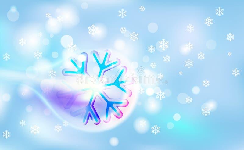 Volando como un copo de nieve abigarrado del cometa en una falta de definición caótica para la Navidad, Año Nuevo, bokeh de copos stock de ilustración