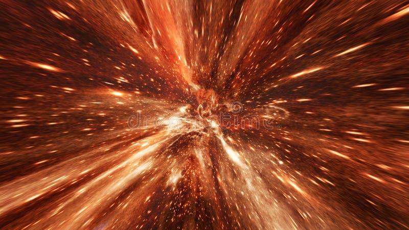 Volando con il tunnel del buco del verme o il vortice astratto di energia royalty illustrazione gratis