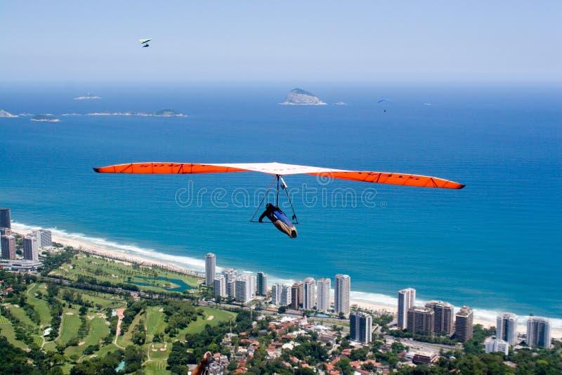 Volando sopra la spiaggia immagini stock