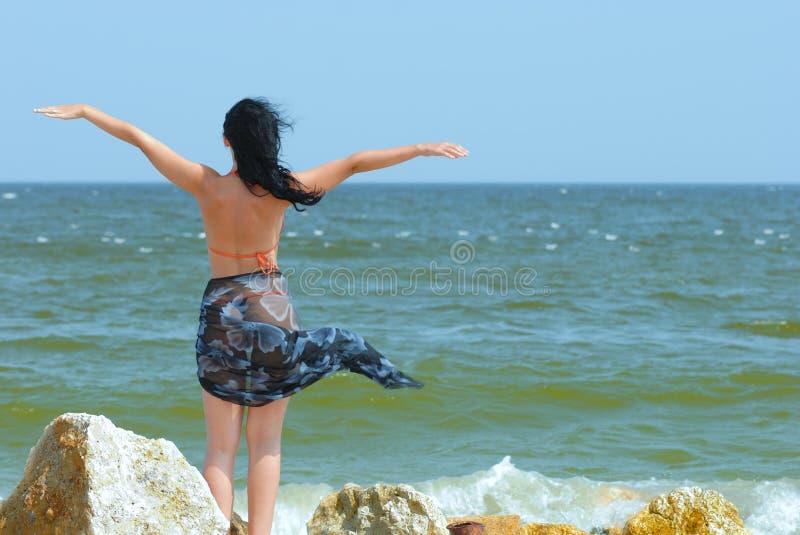 Volando in vento fotografia stock