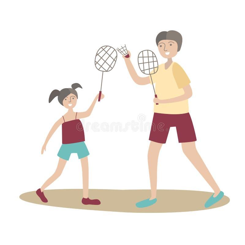 Volano del gioco della figlia e del papà Sport della famiglia e attività fisica con i bambini, ricreazione attiva unita Vettore illustrazione vettoriale