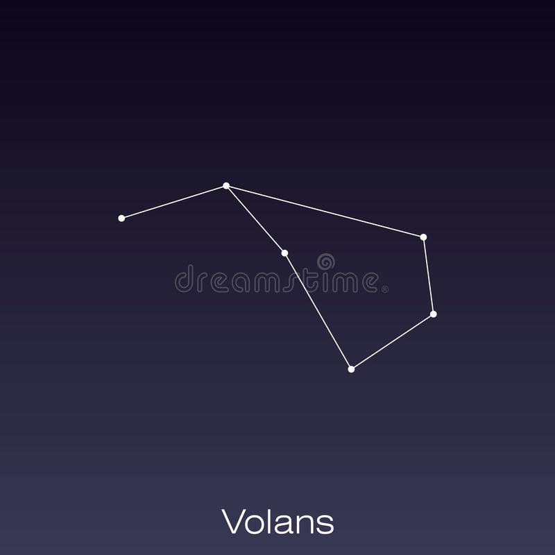Constellation as it can be seen by the naked eye. Volans constellation as it can be seen by the naked eye royalty free illustration