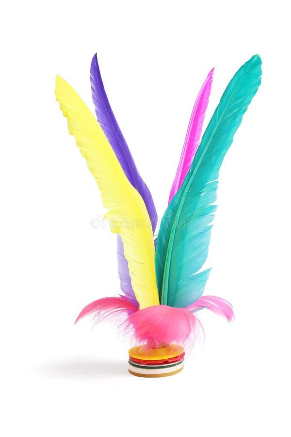 Volant coloré de plume de coup-de-pied photos libres de droits