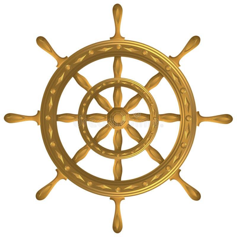 Volant d'or de windrose d'ancre de boussole de globe photographie stock