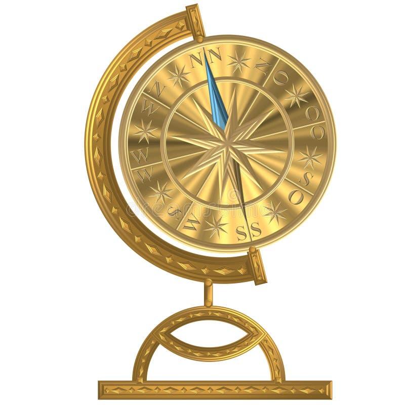 Volant d'or de windrose d'ancre de boussole de globe image stock