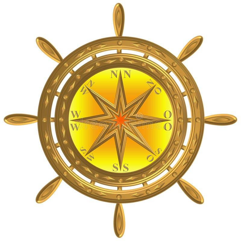 Volant d'or de windrose d'ancre de boussole de globe images libres de droits