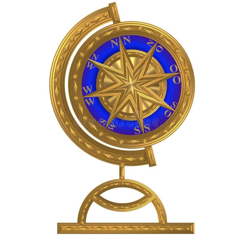 Volant d'or de windrose d'ancre de boussole de globe photographie stock libre de droits