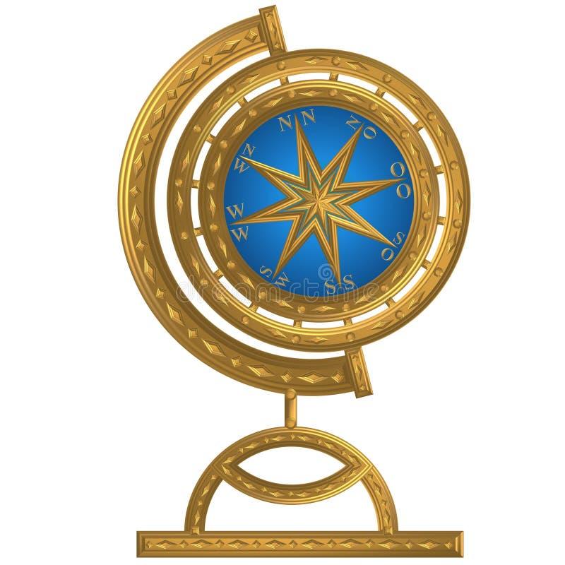 Volant d'or de windrose d'ancre de boussole de globe photo libre de droits