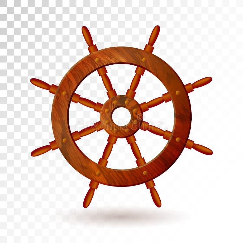 Volant de bateau d'isolement sur le fond transparent Illustration détaillée de vecteur pour votre conception illustration de vecteur