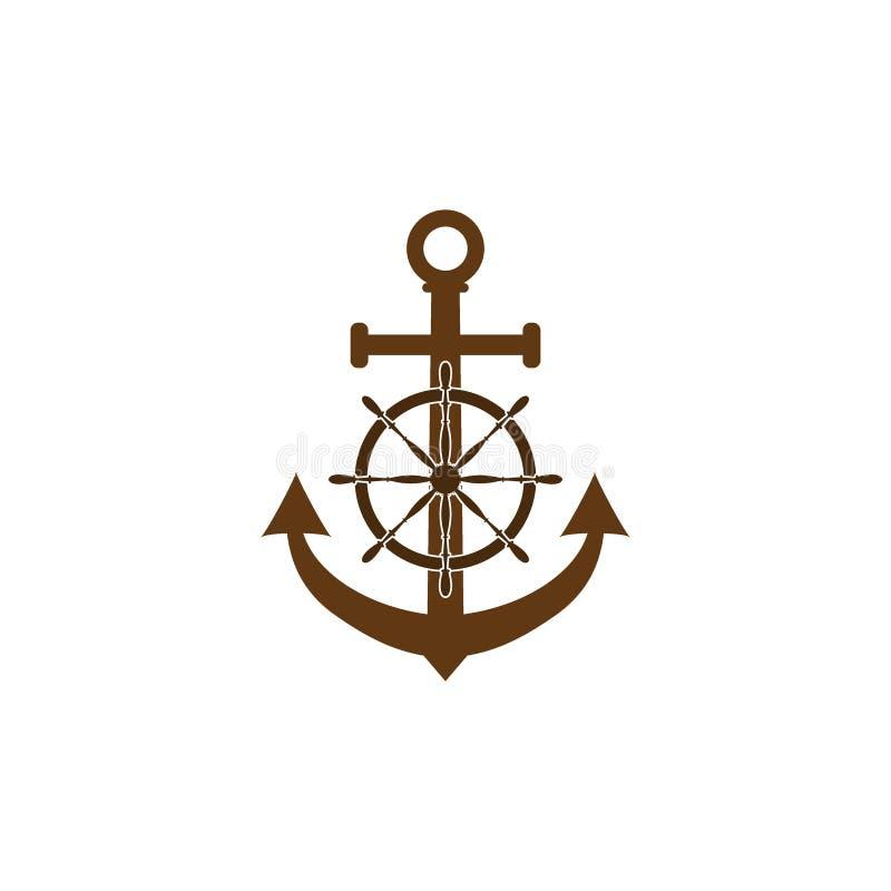 Volant de bateau, icône d'ancre Illustration de vecteur, conception plate illustration libre de droits