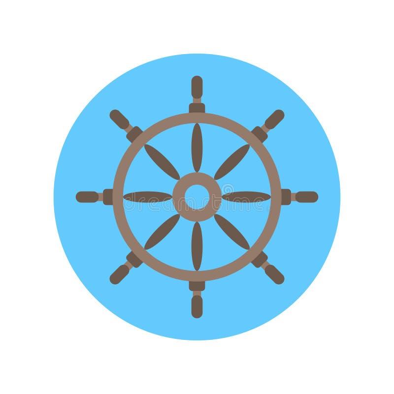Volante del icono del timón para el concepto de la nave ilustración del vector