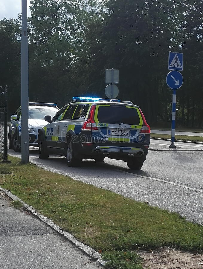 Volante della polizia in Svezia fotografia stock libera da diritti