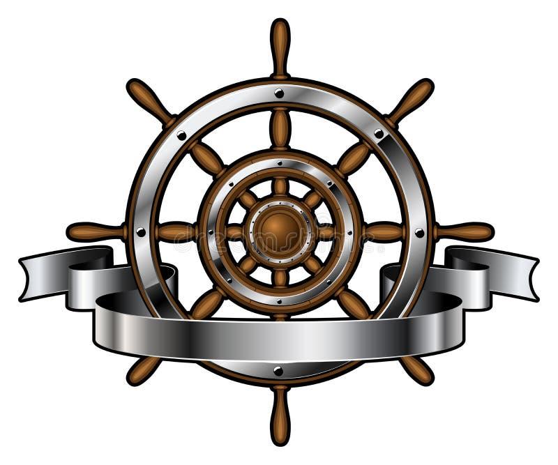 Volante do navio com bandeira ilustração do vetor
