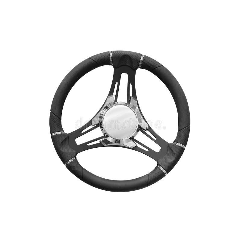 Volante moderno de lujo para el control del símbolo de los barcos o del coche del yate, concepto de control, aislado en el fondo  fotos de archivo libres de regalías