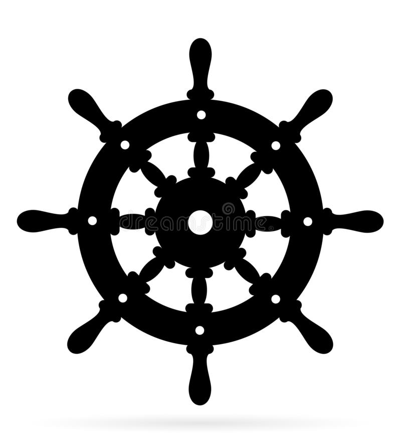 Volante náutico velho feito da ilustração preta de madeira do vetor do estoque da silhueta do esboço ilustração do vetor