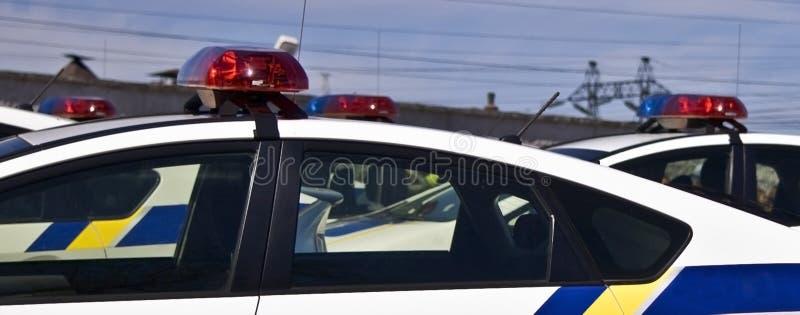 Volanti della polizia con le sirene rosse ed il colore blu
