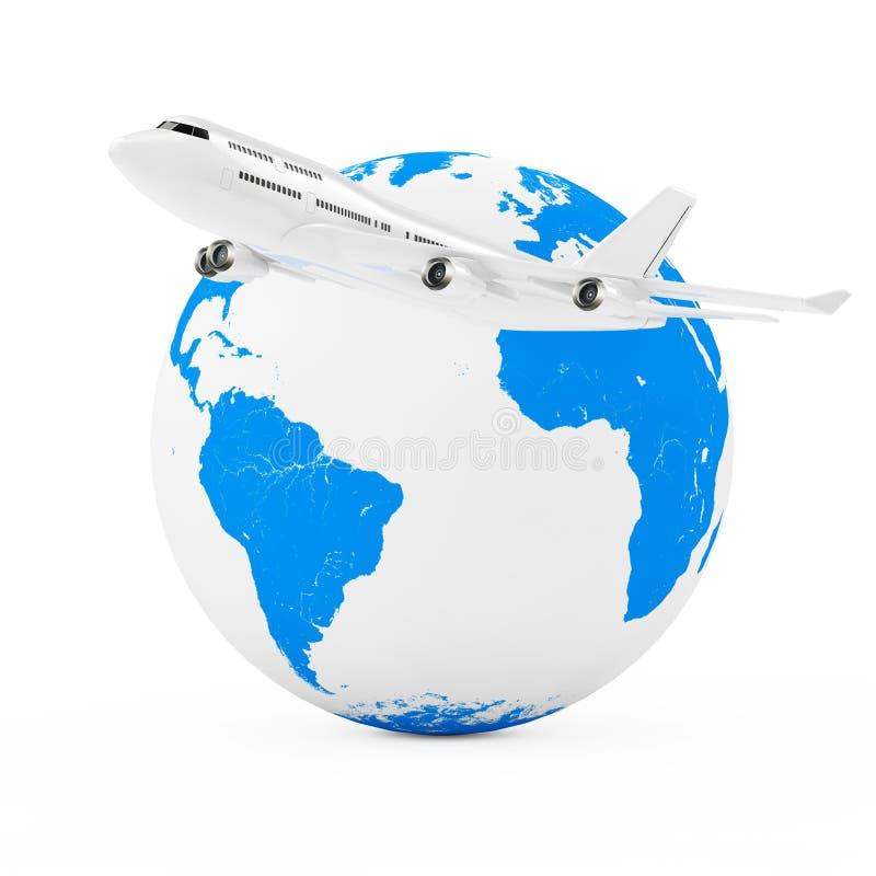 Volar en todo el mundo concepto Aeroplano blanco del ` s de Jet Passenger stock de ilustración