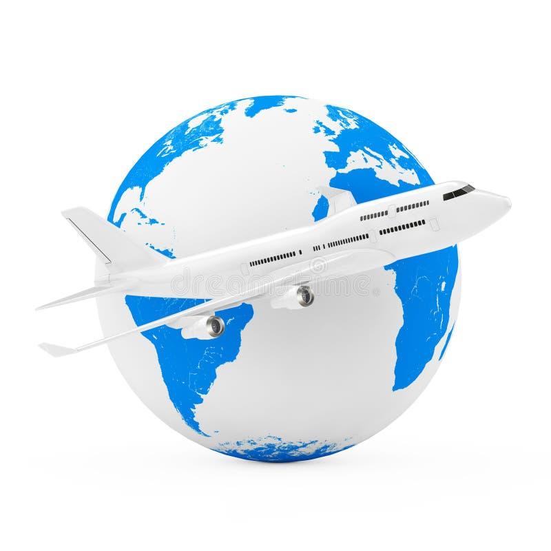 Volar en todo el mundo concepto Aeroplano blanco del ` s de Jet Passenger ilustración del vector