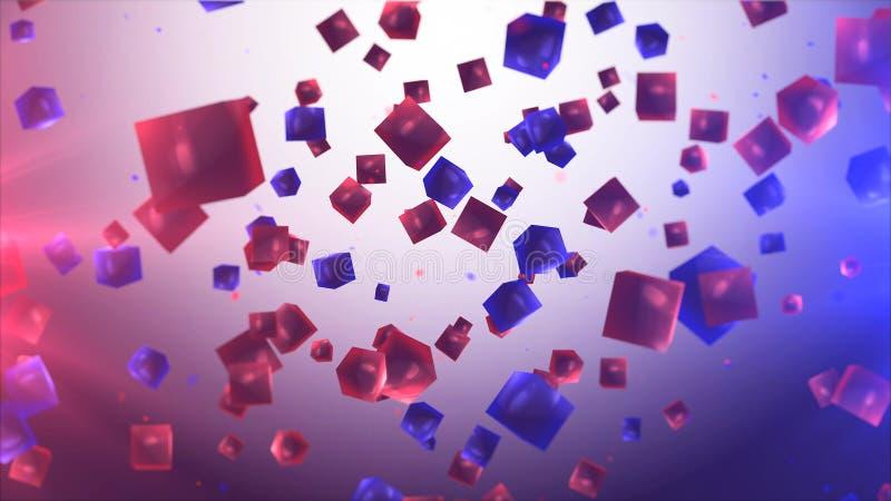 Volar los cubos multicolores y transparentes en aire libre illustration