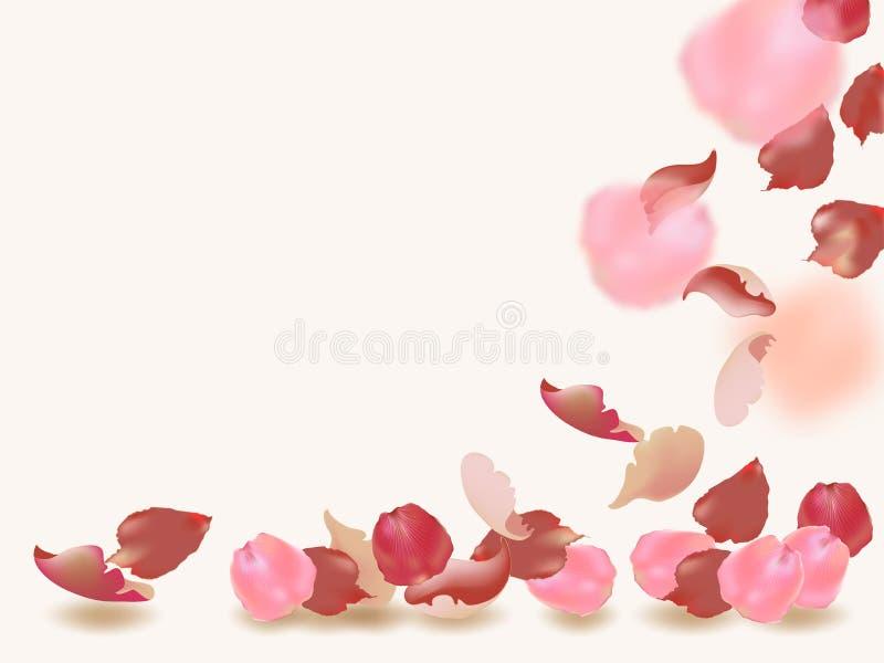 Volar los p?talos rojos y rosados de la flor subi? Fondo enmascarado del resorte stock de ilustración
