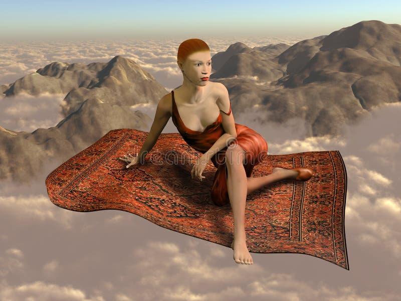 Volar una alfombra mágica sobre las nubes stock de ilustración
