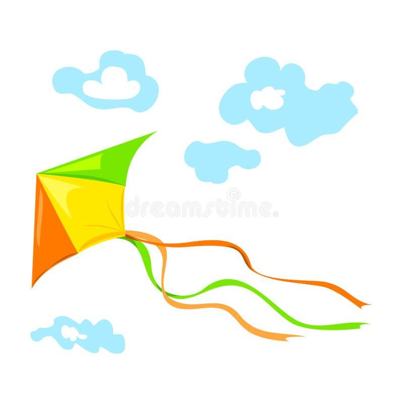 Volar una cometa con las nubes stock de ilustración