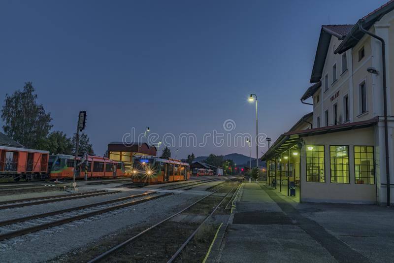 Volary station in south Bohemia near Sumava national park. In summer evening stock image