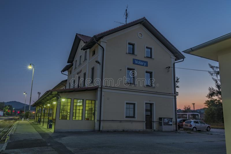 Volary station in south Bohemia near Sumava national park. In summer evening stock photography