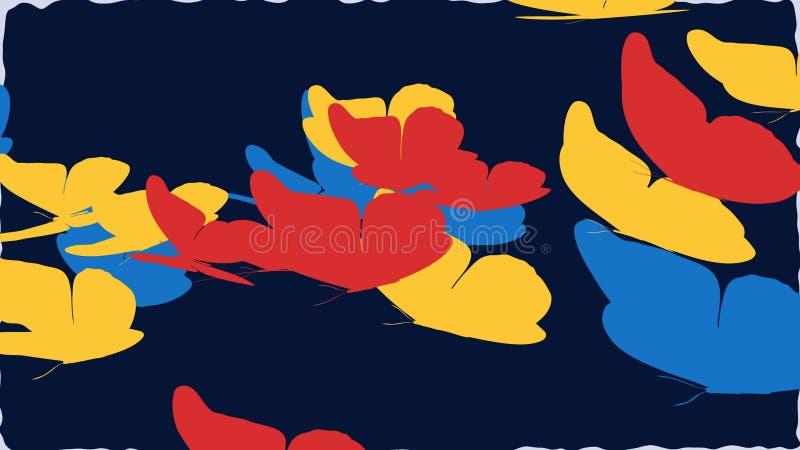 Volata gialla, rossa e blu delle farfalle illustrazione vettoriale