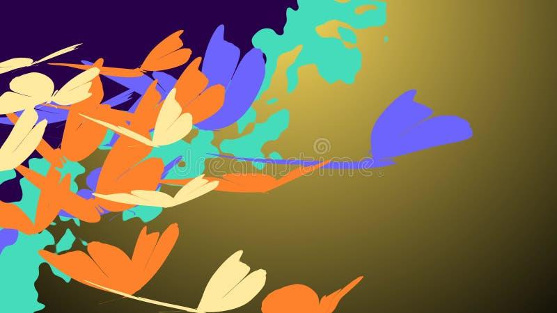 Volata romantica delle farfalle illustrazione vettoriale