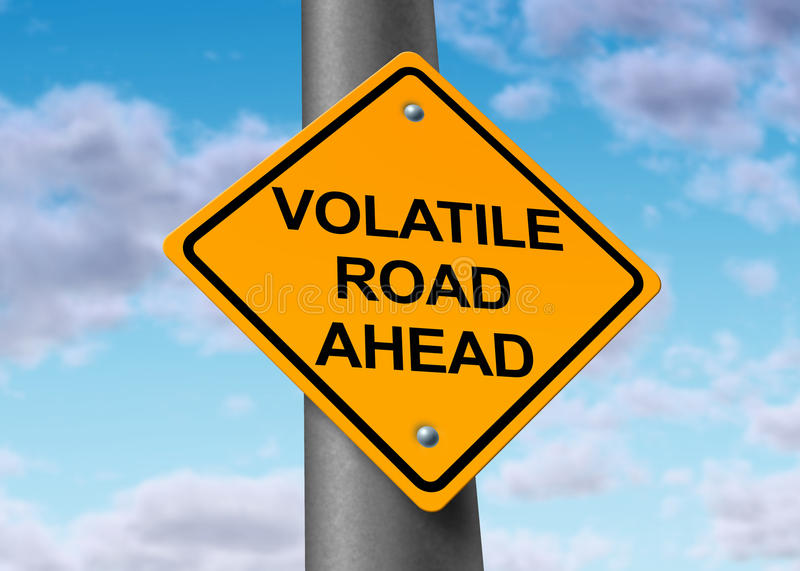 Volatile road ahead. Volatility in the stock market symbol represented by a yellow road warning sign showing the hazards of a volatile trading sesion at the dow vector illustration