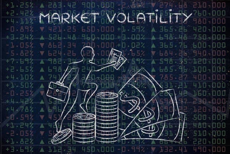 Volatilité du marché : résultats de représentation avec le prof. s'élevant de commerçant illustration libre de droits