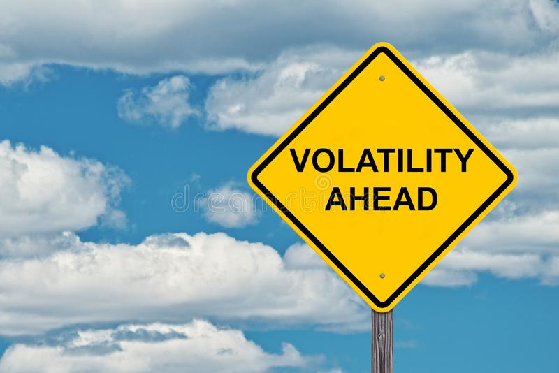 Volatility Ahead Warning Sign. Volatility Ahead Caution Sign - Blue Sky Background stock images