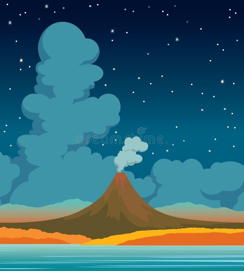 Volcán, lago, bosque, nubes y cielo nocturno Autumn Landscape libre illustration
