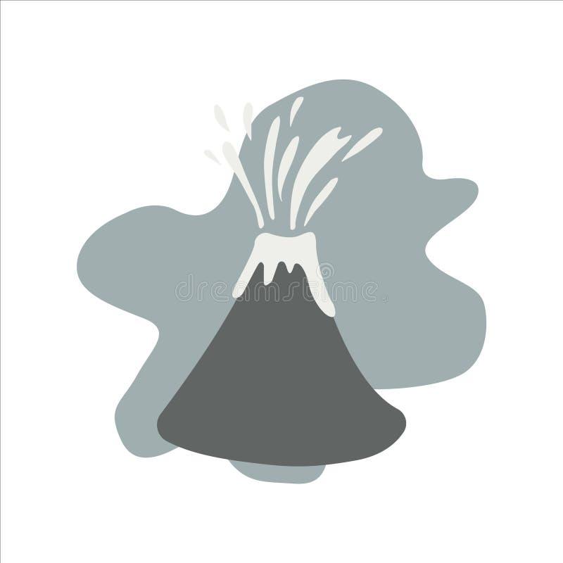 Volcán lindo eruptivo con lava ilustración del vector