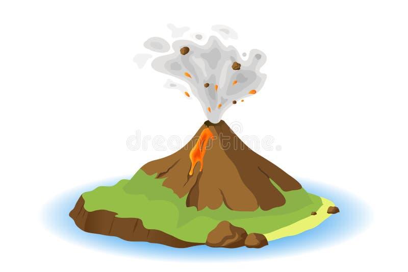 Volcán que entra en erupción stock de ilustración