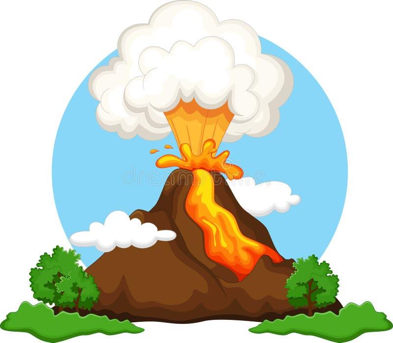 Volcán que entra en erupción ilustración del vector
