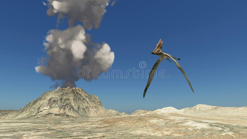 Volcán y el pterosaur Thalassodromeus stock de ilustración