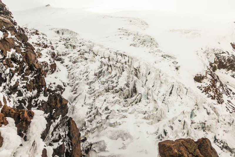 Volcà ¡ n卡扬贝火山, glaciares 免版税库存图片